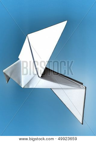 glowing origami paper dove on blue background