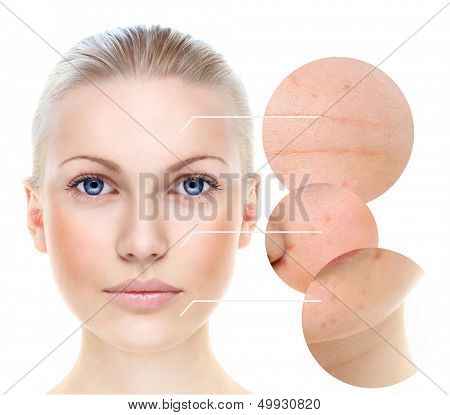 Beautiful woman's portrait isolated on white, skin care concept.