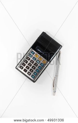 Old Calculator And Pen