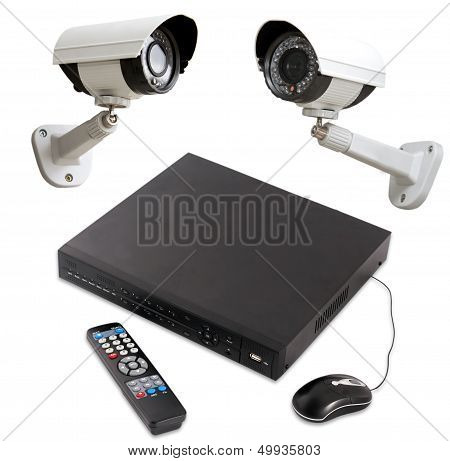 Digital Video Recorder End Security Camera Isolated On White