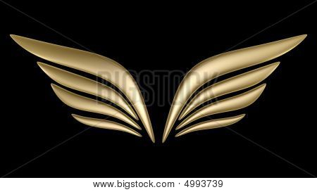 3d bird wing symbol isolated on white background poster