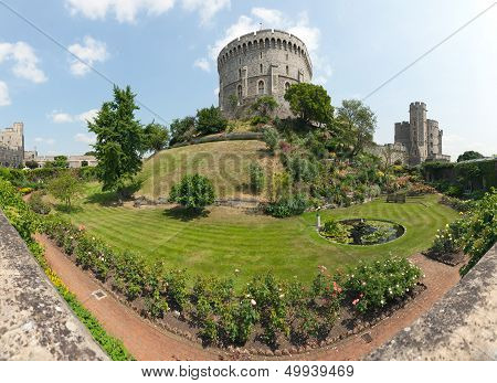 Windsor Castle Round Tower And Moat