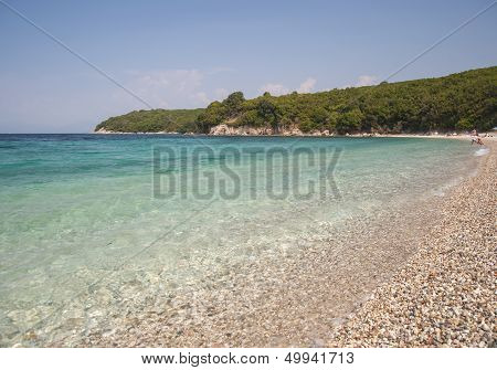 Avlaki beach on the North East of the Ionian island of corfu