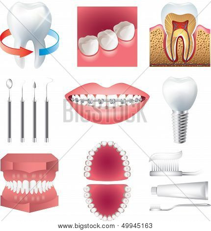 Tooth Healthcare And Stomatology Vector Set