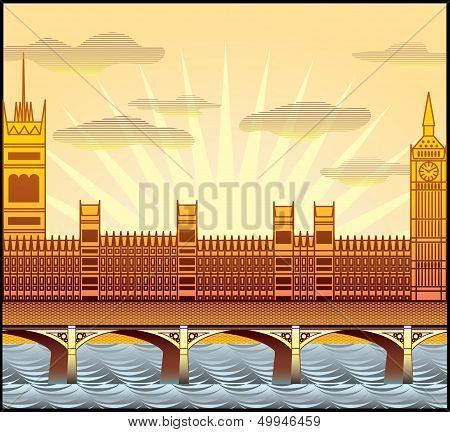 Landscape With London's Big Ben, Westminster Abbey