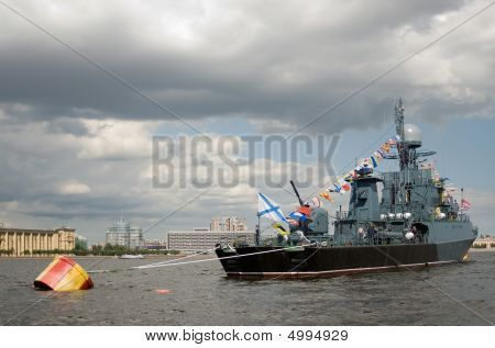 poster of Russian naval ship. Parade in Saint-Petersburg dedicated to Naval Forces Day. Russia.