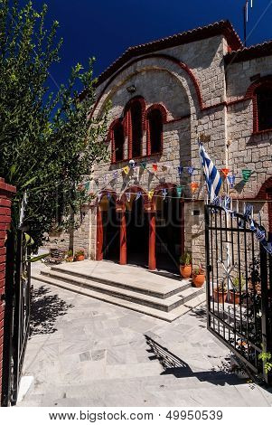 Entrance Of Orthodox Church In Pefkochori, Greece
