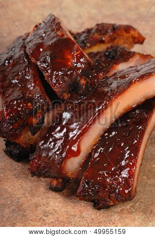 Delicious BBQ baby-back ribs with a tangy sauce