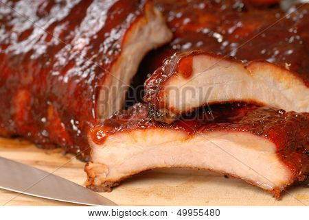 Delicious BBQ ribs with  a tangy sauce
