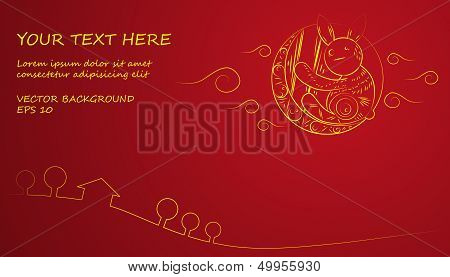 Chinese Mid Autumn Festival yellow moon and rabbit on red background