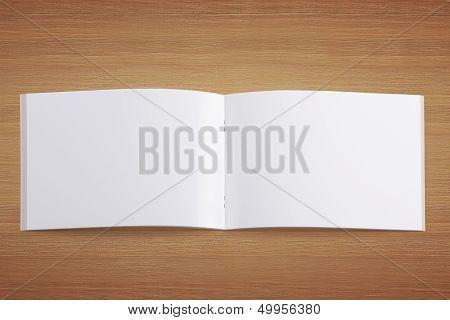 Blank Opened Magazine On Wooden Background