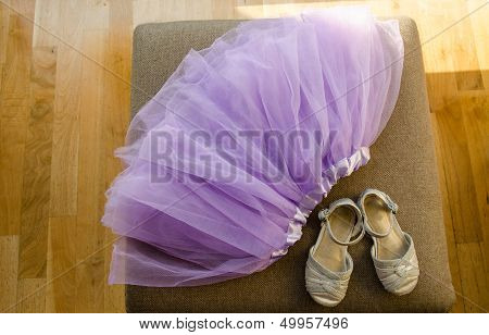 Girl Lilac Ballerina Skirt Light Gray Shiny Shoes