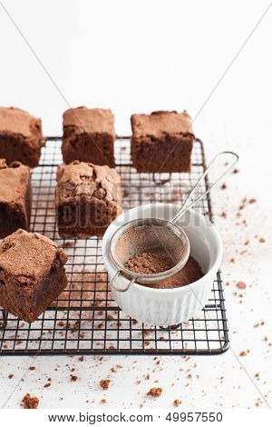 Chocolate Brownies On Cooling Rack