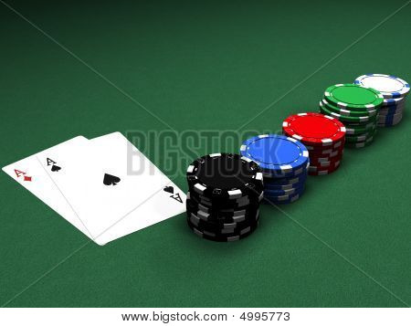 Poker Chips And Couple Of Aces
