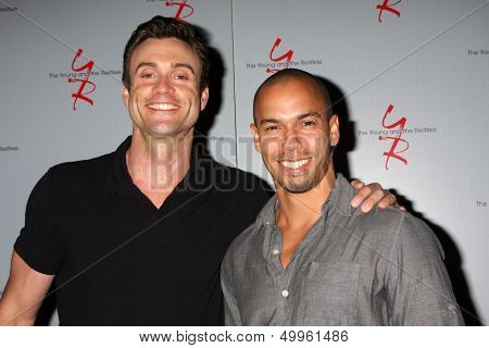 LOS ANGELES - AUG 24:  Daniel Goddard, Bryton James at the Young & Restless Fan Club Dinner at the Universal Sheraton Hotel on August 24, 2013 in Los Angeles, CA