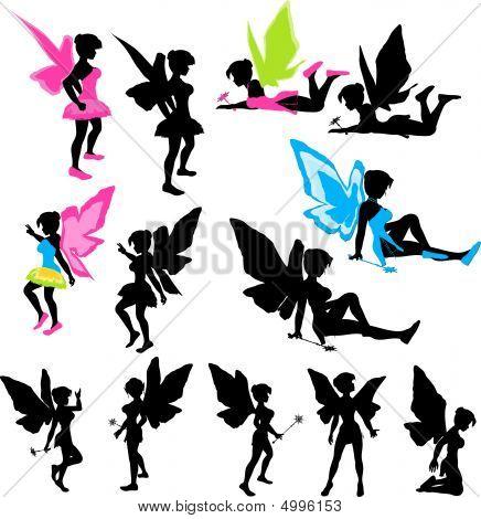 Neon Fairy Silhouettes
