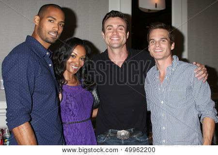LOS ANGELES - AUG 24:  Lamon Archey, Mishael Morgan, Daniel Goddard, Greg Rikaart at the Young & Restless Fan Club Dinner at the Universal Sheraton Hotel on August 24, 2013 in Los Angeles, CA