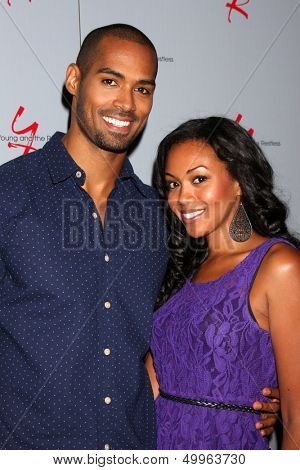 LOS ANGELES - AUG 24:  Lamon Archey, Mishael Morgan at the Young & Restless Fan Club Dinner at the Universal Sheraton Hotel on August 24, 2013 in Los Angeles, CA