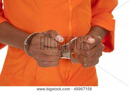 Woman Prisioner Orange Close Handcuffs