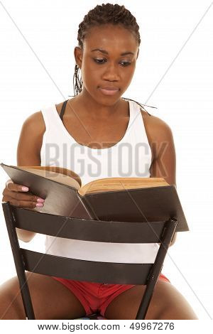 Woman White Tank Read Book Sit