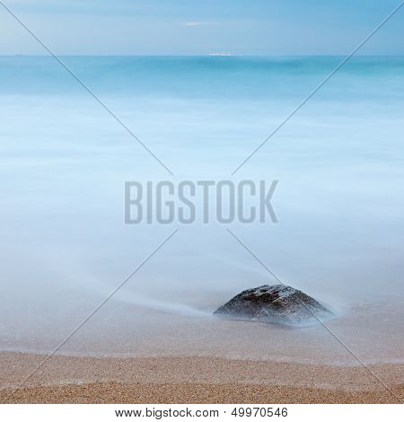 Long Exposure: Rock On The Beach