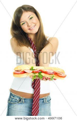 Pretty Girls Giving Us A Sandwich
