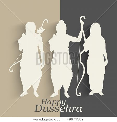 Indian festival Happy Dussehra background with white silhouette of Hindu community Lord Rama with his wife Sita and brother Laxman.