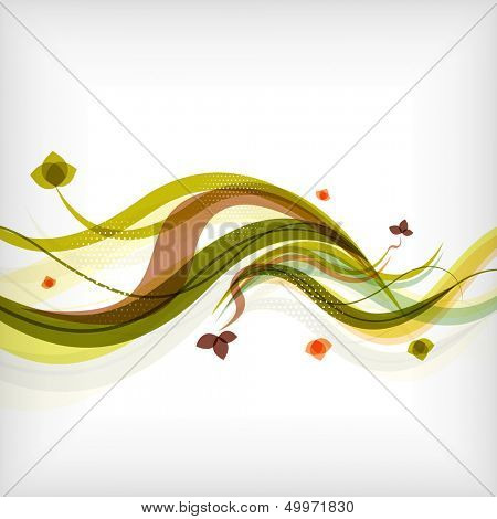 Autumn seasonal wave modern background poster