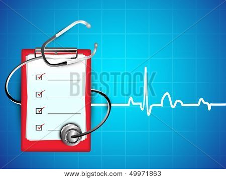 Medical background with stethoscope and doctors prescription pad on heartbeat symbol background.