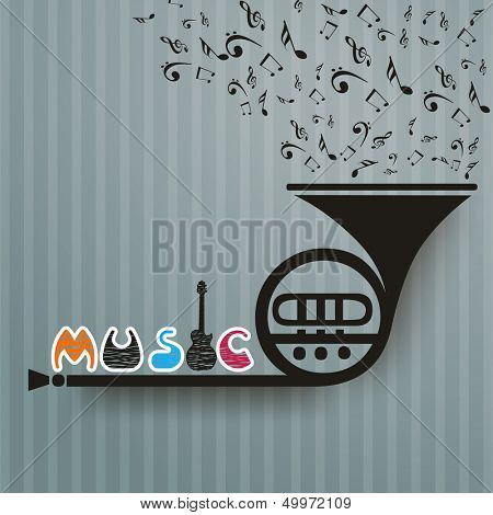 Retro musical background with trumpet. poster