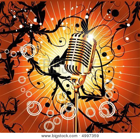 Old Microphone Music Background