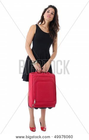 Young Woman Holding a Suitcase