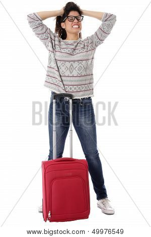 Angry Young Woman Waiting a Red Suitcase