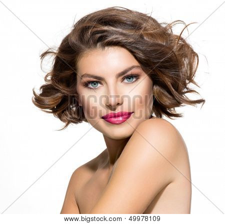 Beauty Young Woman Portrait over White Background. Beautiful Model Girl Face. Short Curly Hair, Fresh Clean Skin and Green Eyes. Hairstyle. Haircut, Beauty Make up poster