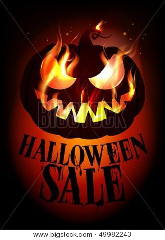 Halloween sale design with burning pumpkin. Eps10