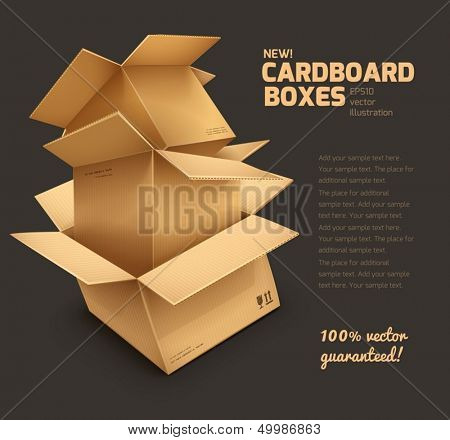 Cardboard boxes on dark gray background - eps10 vector illustration