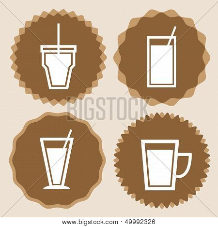 Set Of Coffee Cup Icon Badges