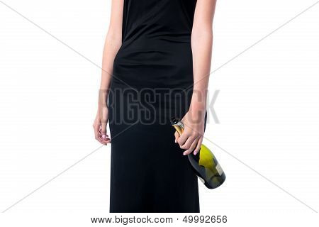 Woman Partying With A Bottle Of Wine