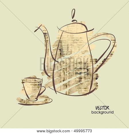 art sketching vector of coffeepot and cup