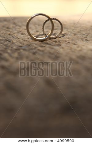 Bridal Rings On A Stone Deck