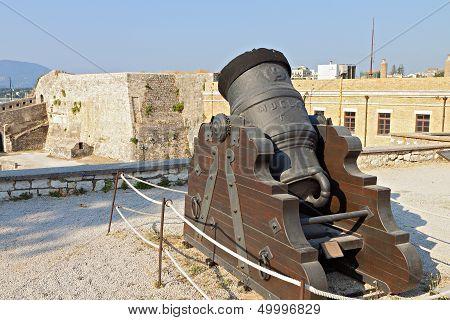 Old gun inside a castle