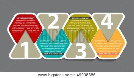 Abstract four color steps scheme background with numbers and place for text