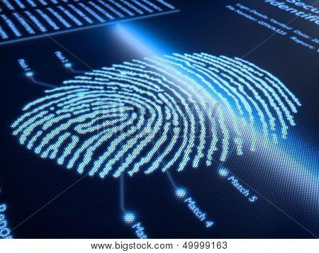 Fingerabdruck-Scan-Technologie auf Pixellated Bildschirm - 3d gerendert mit leichten DOF