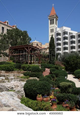 Public gardens and church in downtown Beirut Lebanon poster
