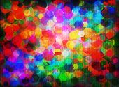 Abstract vector background with many colored hexagons poster