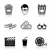 Collection of black cinema icons isolated on white background, illustration. poster