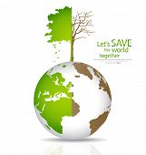 Save the world, Tree on a deforested globe and green globe. Vector illustration. poster