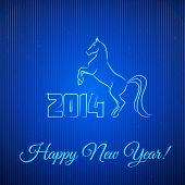 Happy New Year 2014. Illuminated Neon Horse. Vector Illustration. poster