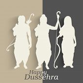 Indian festival Happy Dussehra background with white silhouette of Hindu community Lord Rama with his wife Sita and brother Laxman.  poster