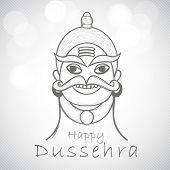 Indian festival Happy Dussehra background with illustration of Ravana. poster
